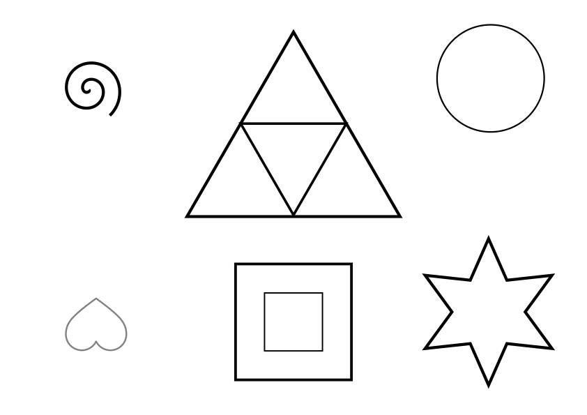 "Resource for Active Listening Game 7 called ""Tell Me What You See."" This is simple picture #1, which participants must draw from a verbal description. The image is comprised of concentric triangles, concentric squares, a spiral, a star, a heart, and a circle. Click the image to download an A4 pdf version of the image."