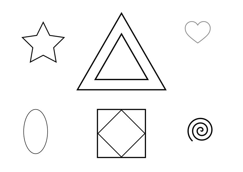 "Resource for Active Listening Game 7 called ""Tell Me What You See."" This is simple picture #2, which participants must draw from a verbal description. The image is comprised of concentric triangles, concentric squares, a spiral, a star, a heart, and an oval. Click the image to download an A4 pdf version of the image."